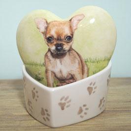 Hartvormige mini urn maat XL, met Chihuahua