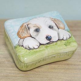 Koesterdoosje Rechthoekig met wit hondje