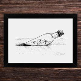 Flaschenpost | Signierter Druck im Rahmen