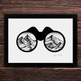 Fernglasberge | Signierter Druck im Rahmen