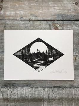 HIKE TO MOON   Signed Art Print #1