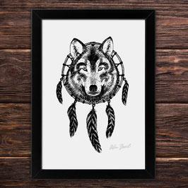 Wolfdreamcatcher | Signierter Druck im Rahmen