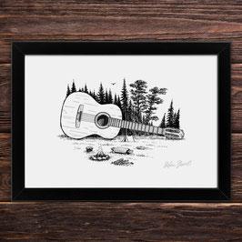 Waldgitarre | Signierter Druck im Rahmen