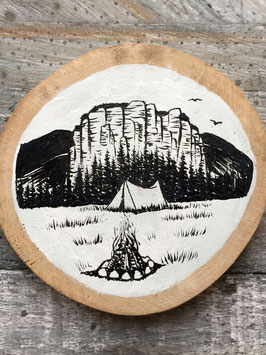 PAINTED WOOD SLICE #001 | SANDSTONE CAMP