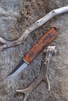 """Finnisches Outdoormesser Motiv """"Lagerfeuer"""" + Leder Messerscheide"""