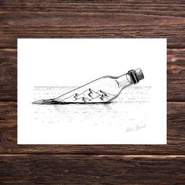 Flaschenpost | Signierter Druck