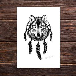 Wolfdreamcatcher | Signierter Druck