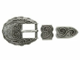 Western Scallop Rope Edge Belt Buckle Set