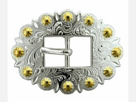 Bright Silver & Gold Berry Cart Centerbar Buckle