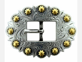 Antique Silver & Gold Berry Cart Centerbar Buckle
