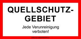 """Hinweisschild """"Quellschutzgebiet"""" 30x15cm ALU"""