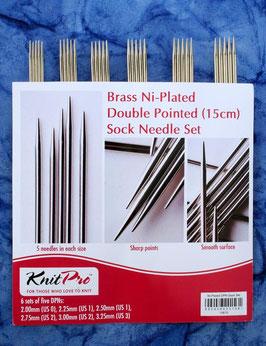 Knit Pro Nova Metal Sock Needles 15 cm - Набор металлических чулочных спиц 15 см