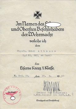 Artikelnummer: 01511 Urkunden Nachlaß von Erich Altmann