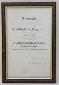 Artikelnummer: 01109 Besitzzeugnis Friedrich-August-Medaille