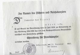 Artikelnummer: 02119 Urkunde Ehrenkreuz für Frontkämpfer