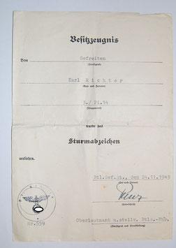 Artikelnummer :000820/ Urkunde Sturmabzeichen