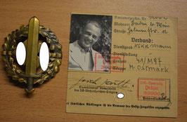 Artikelnummer: 00927 SA-Sportabzeichen Bronze mit  BESITZ-ZEUGNIS (Karte)