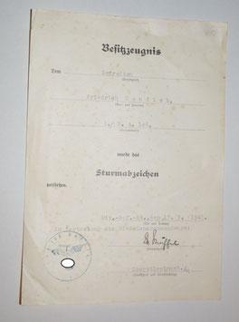 Artikelnummer: 02298 Urkunde Sturmabzeichen