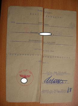 Artikelnummer : 000357/ Vorläufiges Besitzzeugnis Infanteriesturmabzeichen