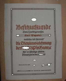 Artikelnummer: 01147 Besitzurkunde für die Dienstauszeichnung  der NSDAP in Bronze