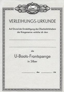 Artikelnummer: 01486 Urkunde U-Boot Frontspange Silber