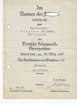 Artikelnummer : 01724 Urkunden Nachlaß Dr. Ziegler Ervin