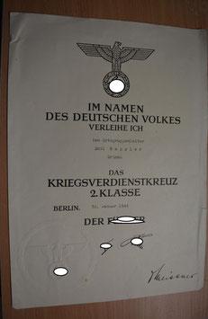 Artikelnummer: 01146 VERLEIHUNGSURKUNDE  zur  Kriegsverdienstkreuz 2.Klasse