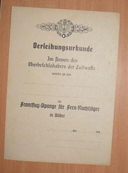 Artikelnummer: 02509 Blanko Urkunde Frontflugspange Fern Nachtjäger