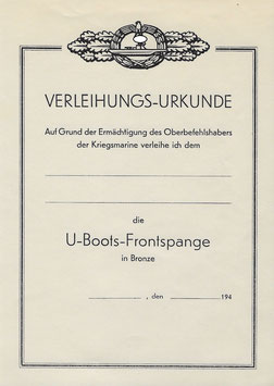 Artikelnummer: 01487 Urkunde U-Boot Frontspange Bronze