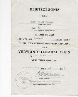 Artikelnummer: 01724 Urkunde des Gefreiten Willi Thomas