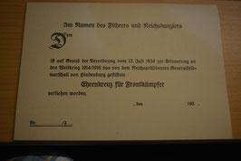Artikelnummer: 02508 Blanko Urkunde Ehrenkreuz für Frontkämpfer