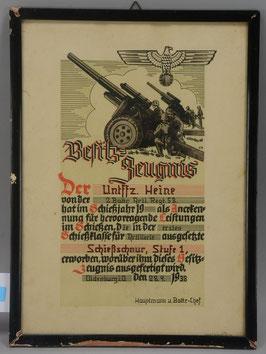 Artikelnummer :001033/ Besitz-Zeugnis,  Auszeichnung für Artillerie-Schießzeugnis,