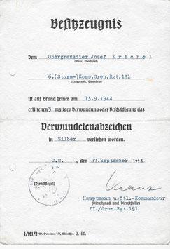 Artikelnummer: 02121 Urkunde des Obergrenadier Josef Krichel