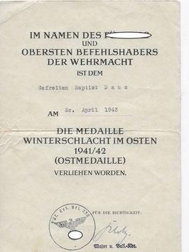 Artikelnummer: 02376 Urkunde des Gefreiten Daus