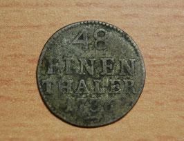 Artikelnummer : 000093/Silber Münze 1/48 Thaler von 1736