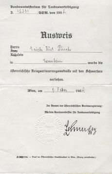 Artikelnummer: 01296 I. Weltkrieg AUSWEIS österreichische Erinnerungsmedaille