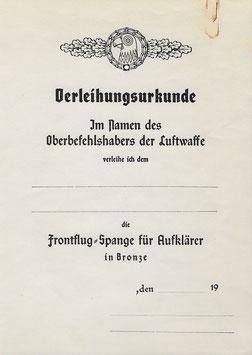 Artikelnummer: 01481 Urkunde Frontflug Spange Aufklärer