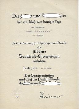Artikelnummer : 02125 Treudienst-Ehrenzeichen  für 25-jährige