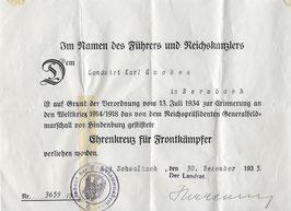 Artikelnummer: 02118 Urkunde Ehrenkreuz für Frontkämpfer