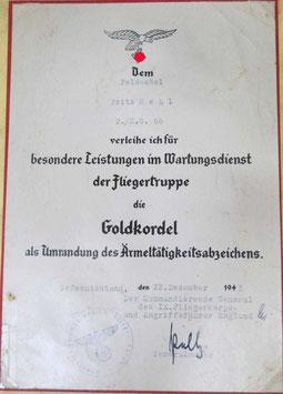 Artikelnummer : 000581/   Urkunde - Goldkordel der Fliegertruppe