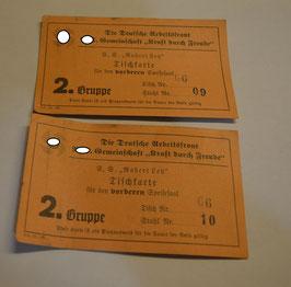 Artikelnummer: 02267 2 Tischkarten der Robert Ley