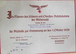 Artikelnummer :000582/ Urkunde  Medaille zur Erinnerung an den 1.Oktober 1938
