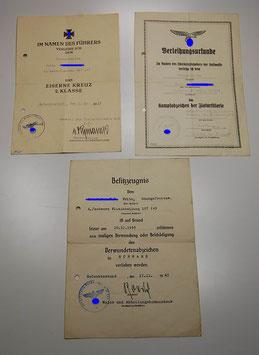 Artikelnummer :000087/ Drei Besitzurkunden, II. WK, aus dem Nachlaß eines Obergefreiten 4./schw. Flakabt. 167 (u)