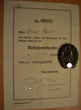 Artikelnummer :000926/ Reichssportabzeichen DRA in Bronze