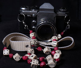 camera strap ivory/red