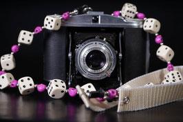 camera strap ivory/purple
