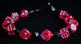 wallet chain - pink and black dice