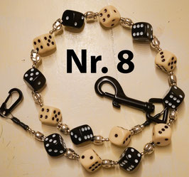 wallet chain - black & ivory dice
