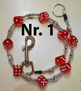 wallet chain red dice, silver skulls