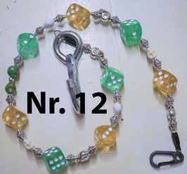 wallet chain - green & yellow dice
